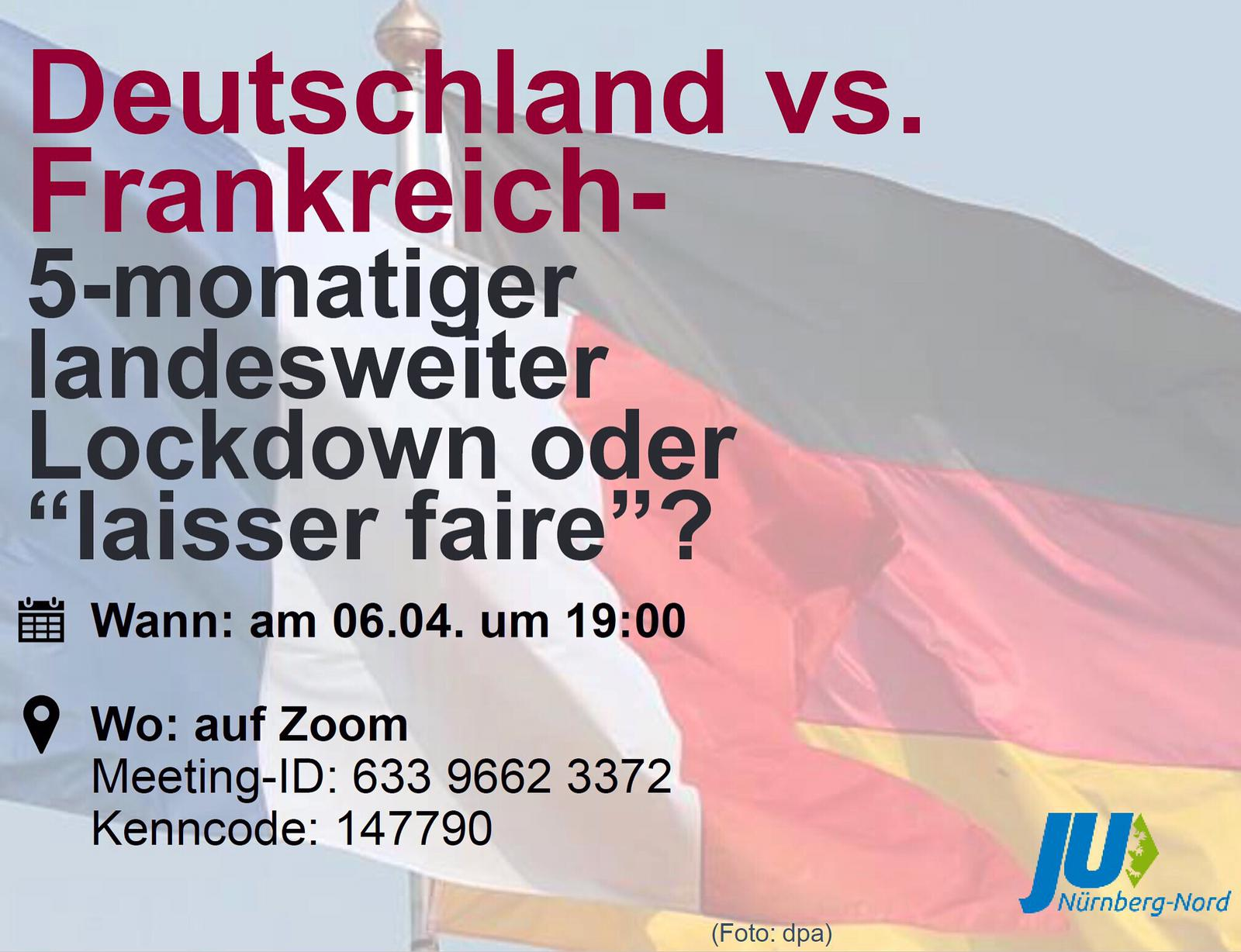 Bild zur Veranstaltung Deutschland vs. Frankreich - Welche Corona-Strategie ist zielführend?