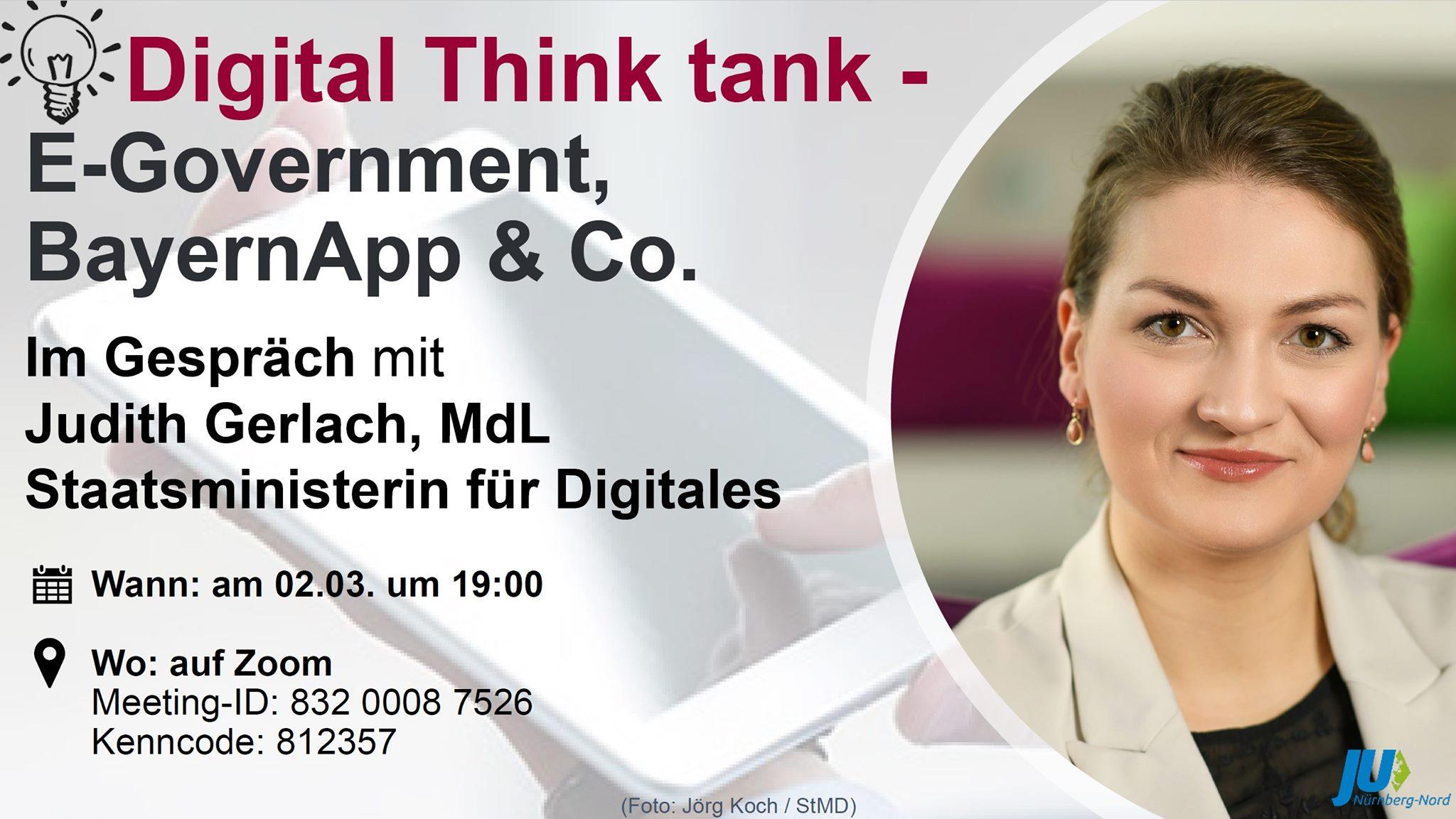 Bild zur Veranstaltung Digital Think Tank - E-Government, BayernApp & Co. mit Judith Gerlach, Staatsministerin für Digitales