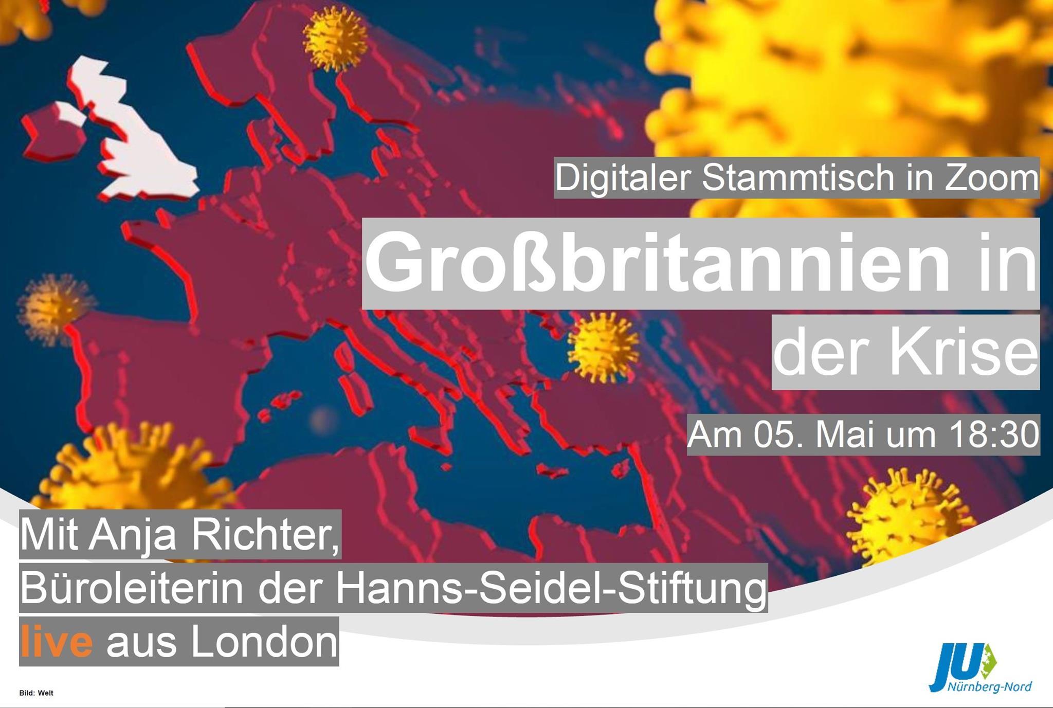 Bild zur Veranstaltung Covid-19: Lage in Großbritannien mit Anja Richter, HSS London