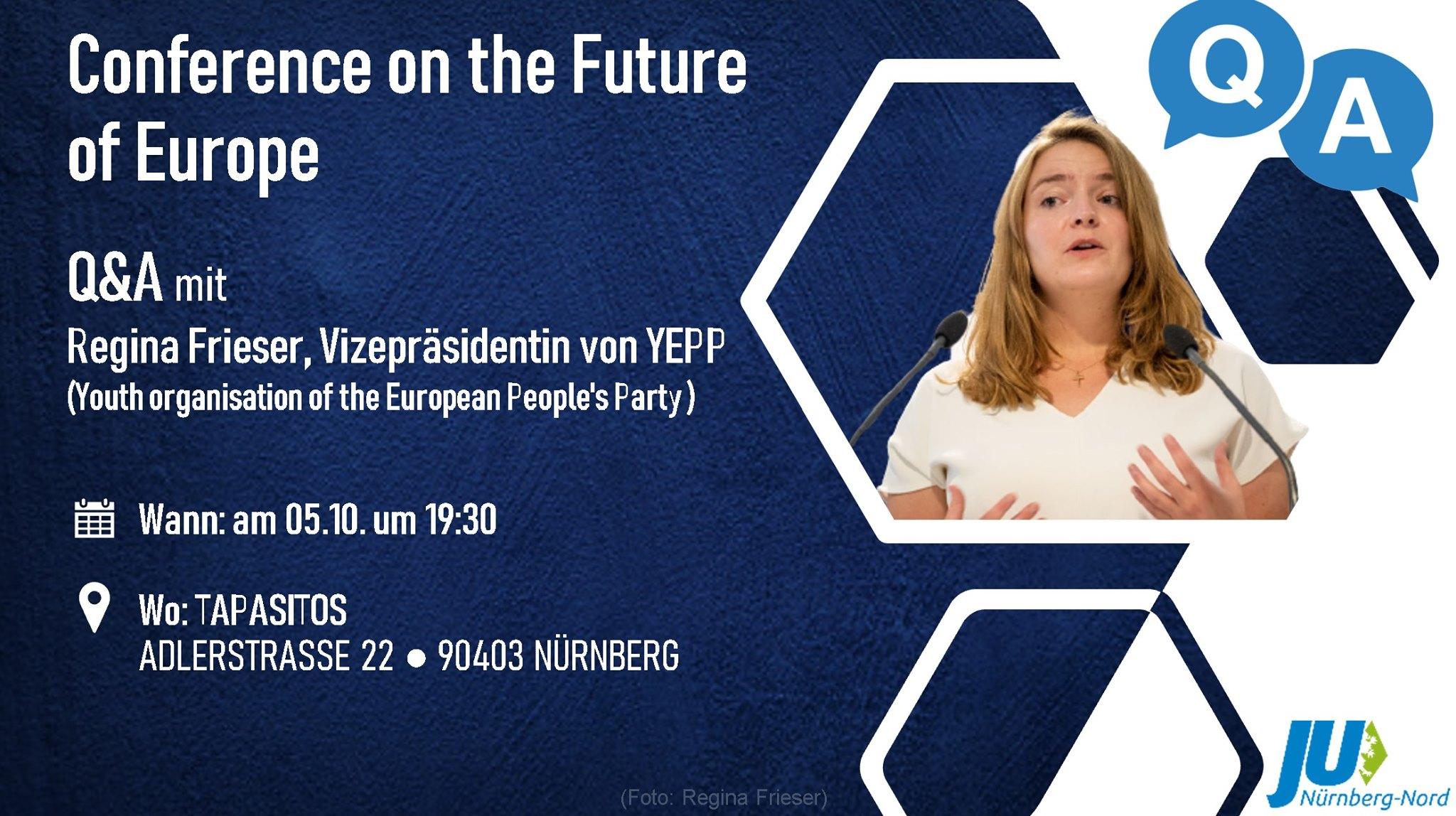 Bild zur Veranstaltung Conference on the Future of Europe - Q&A mit Regina Frieser, Vizepräsidentin von YEPP