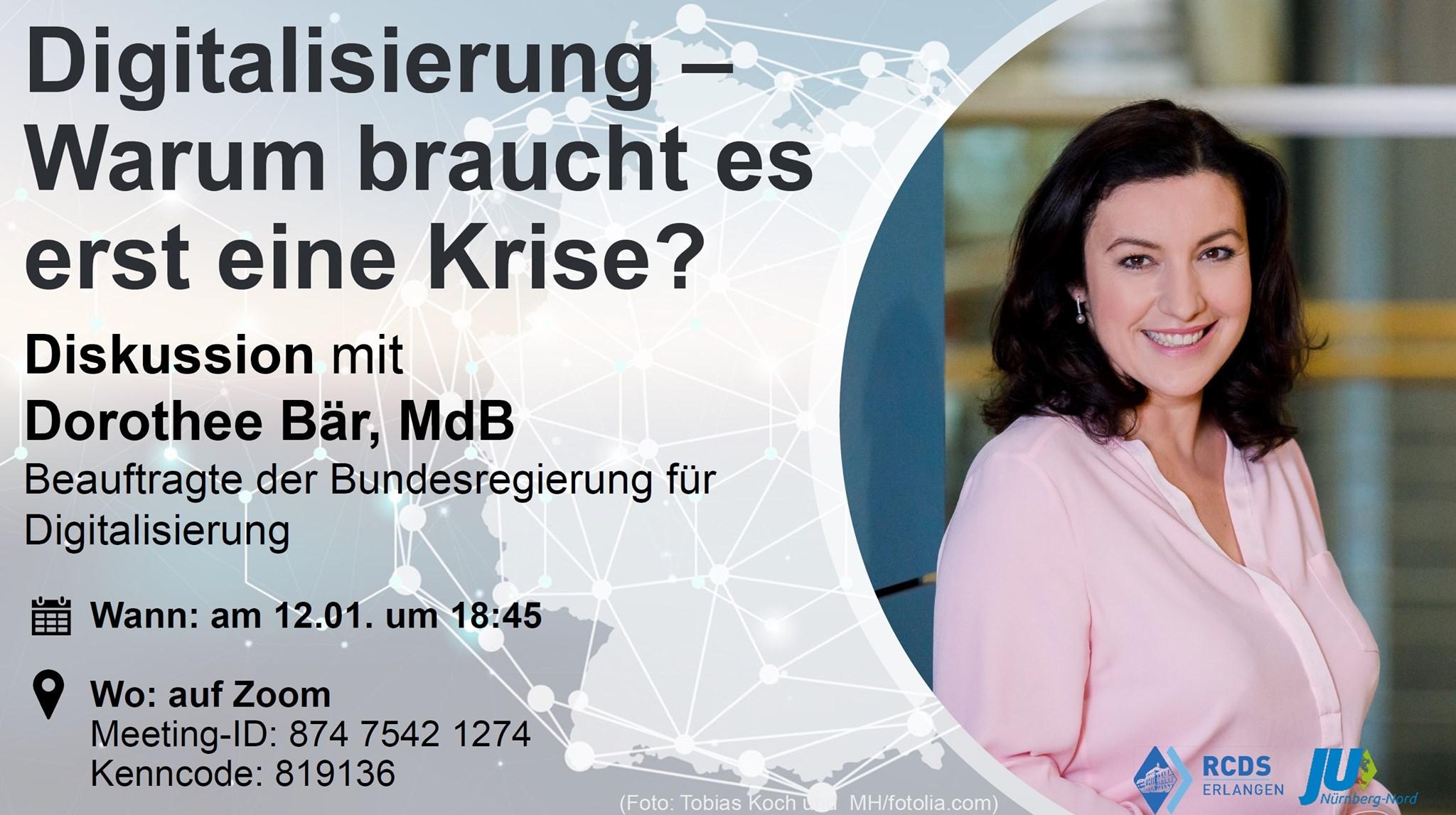 Bild zur Veranstaltung Digitalisierung - Warum braucht es erst eine Krise? - Diskussion mit Dorothee Bär MdB, Staatsministerin für Digitalisierung