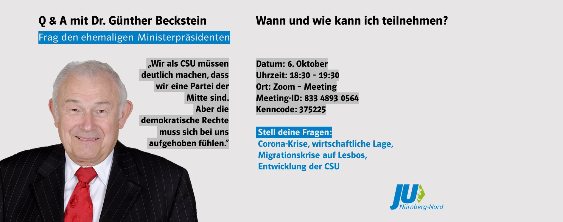 Bild zur Veranstaltung Q&A mit Günther Beckstein