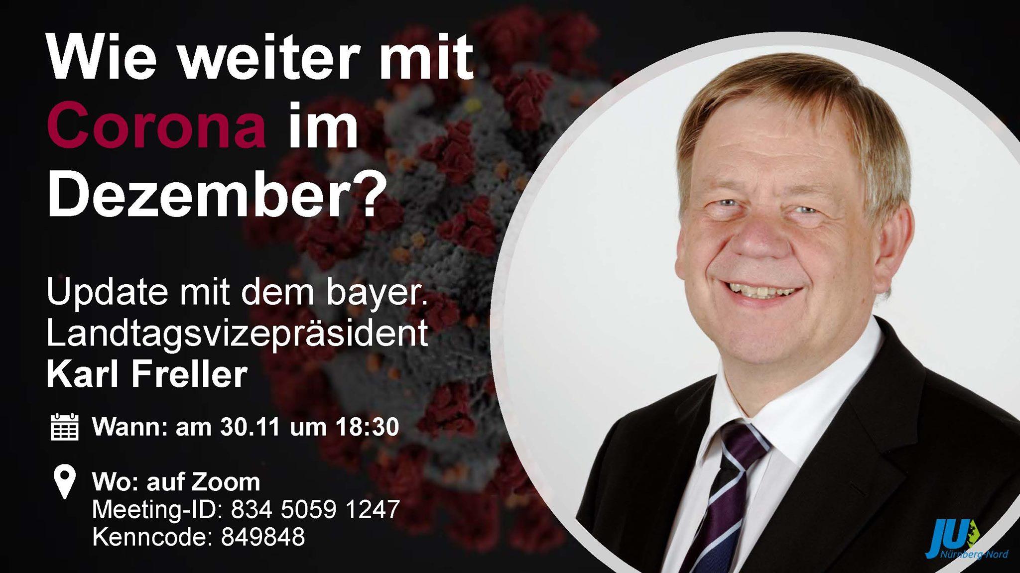 Bild zur Veranstaltung Wie weiter mit Corona im Dezember - Update mit bayer. Landtagsvizepräsident Karl Freller